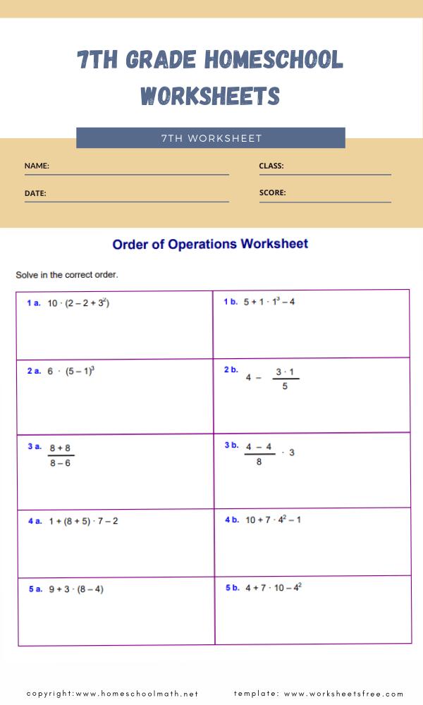 7th grade homeschool worksheets 1
