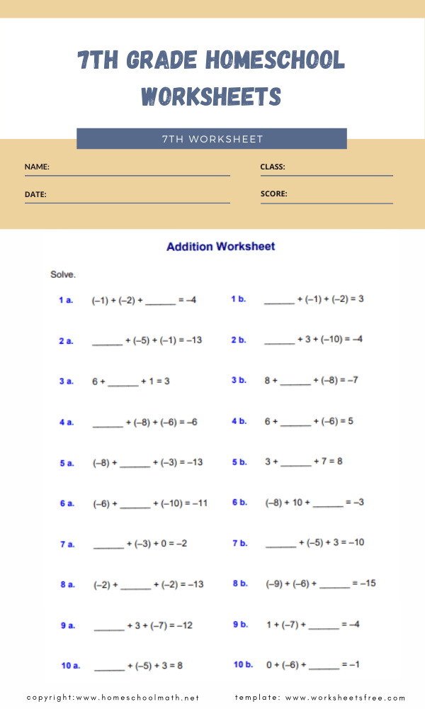 7th grade homeschool worksheets 4