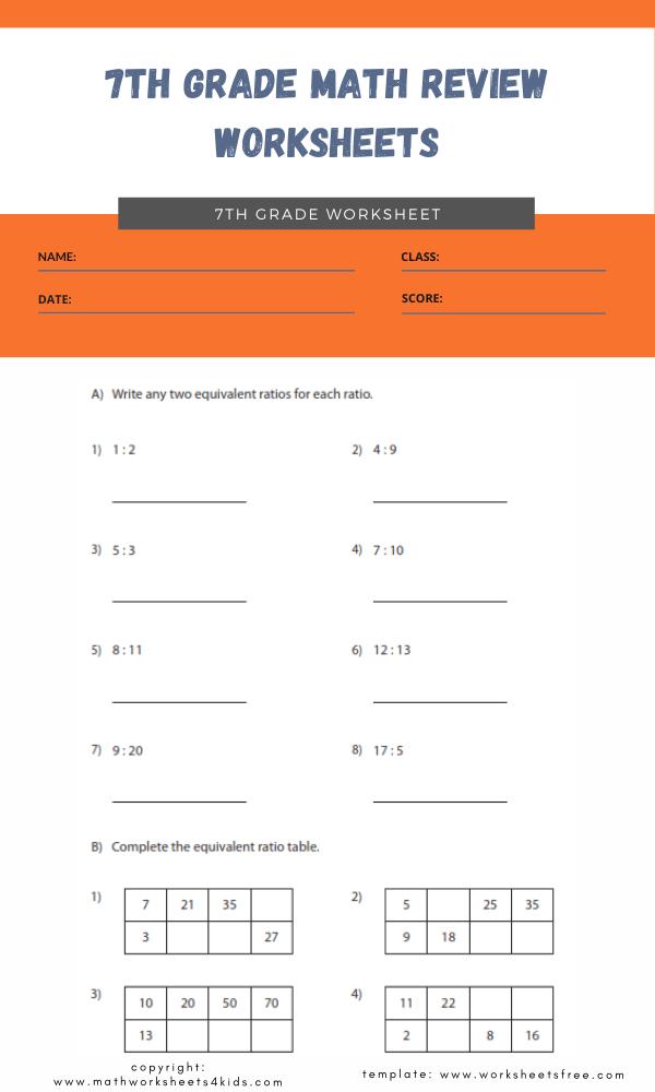 7th grade math review worksheets 5