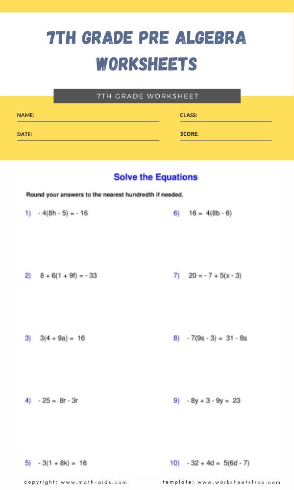 7th grade pre algebra worksheets 1