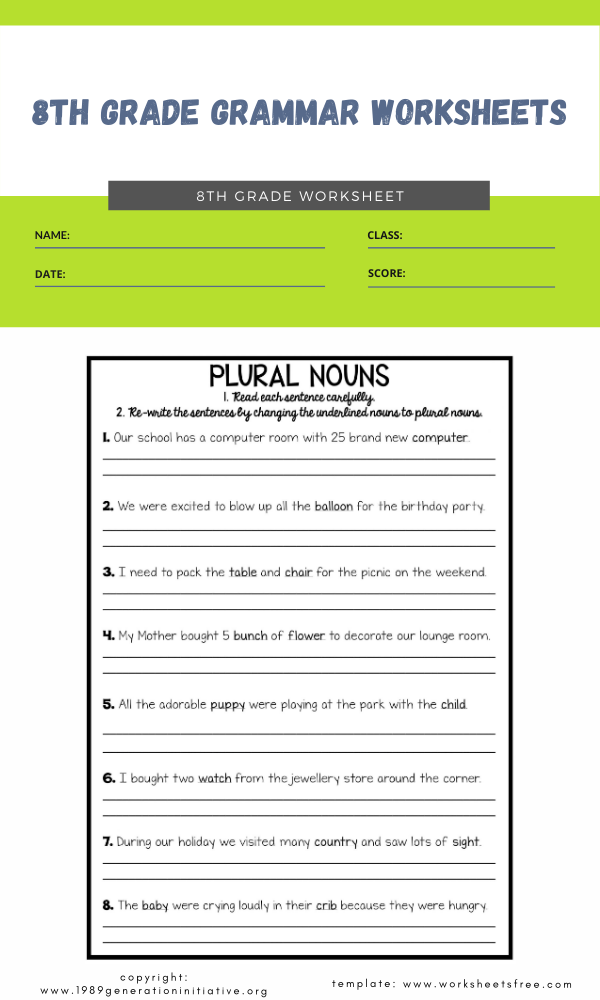 8th grade grammar worksheets4
