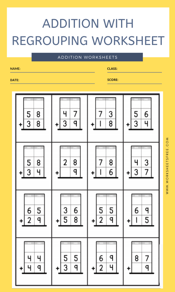 ADDITION WITH REGROUPING WORKSHEET 1