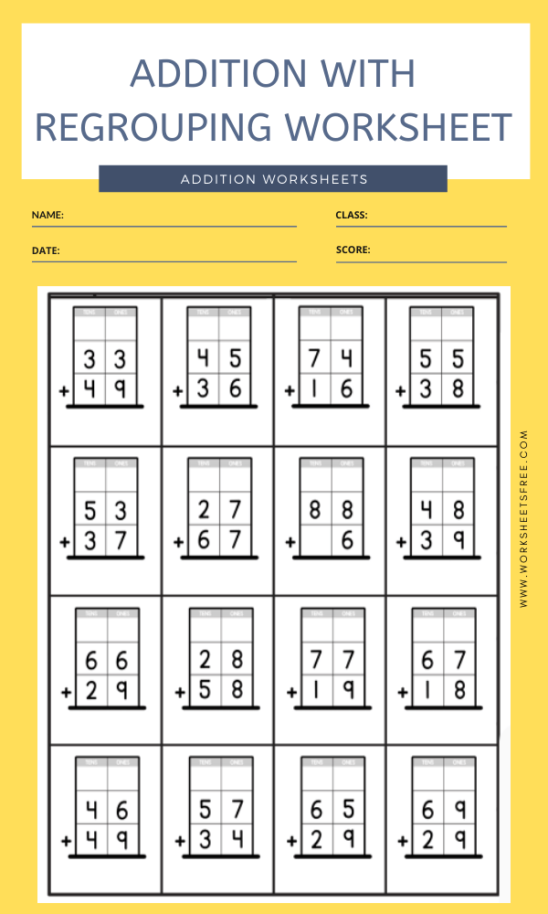 ADDITION WITH REGROUPING WORKSHEET 2