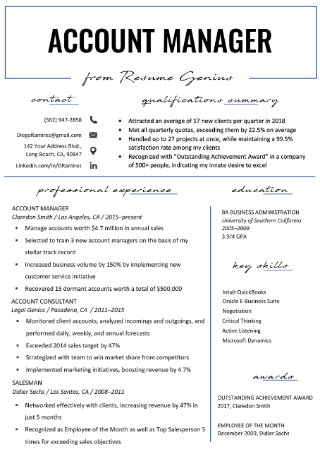 Account Manager Resume Sample 1