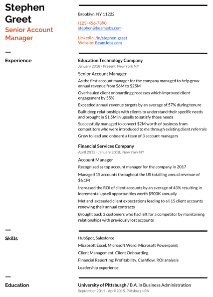 Account Manager Resume Sample 4