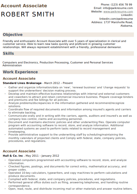 Accounting Associate Resume Sample 4