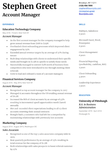 Accounts Manager Resume Sample 3