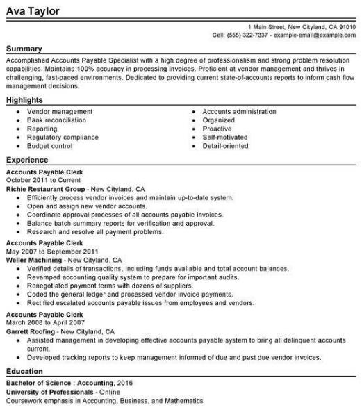 Accounts Payable Resume Sample 1