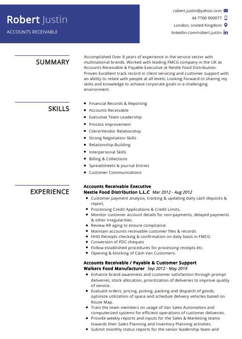 Accounts Receivable Resume Example 2