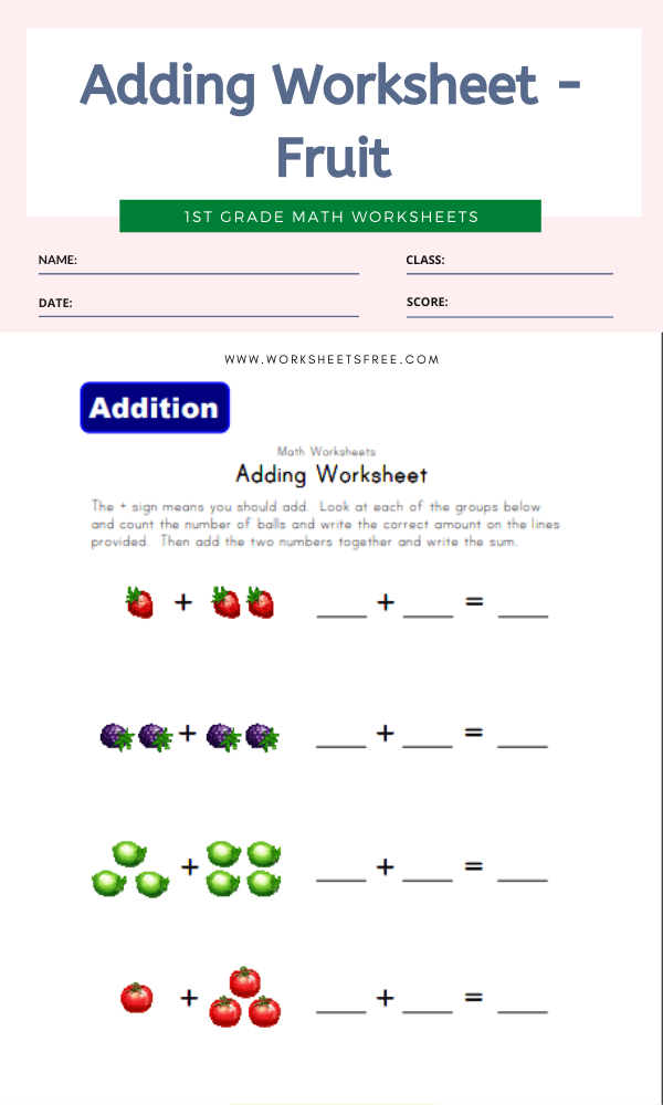 Adding Worksheet - Fruit
