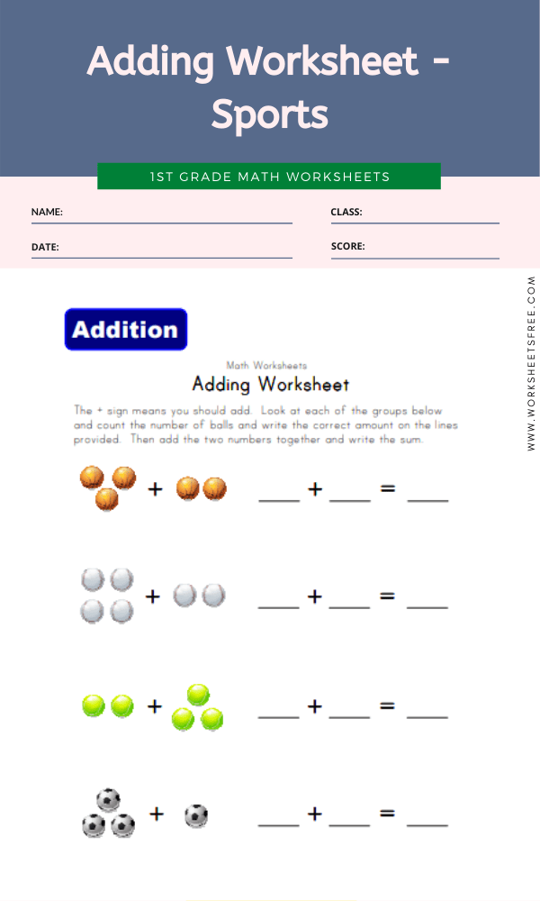 Adding Worksheet - Sports