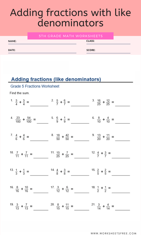Adding fractions with like denominators For Grade 5