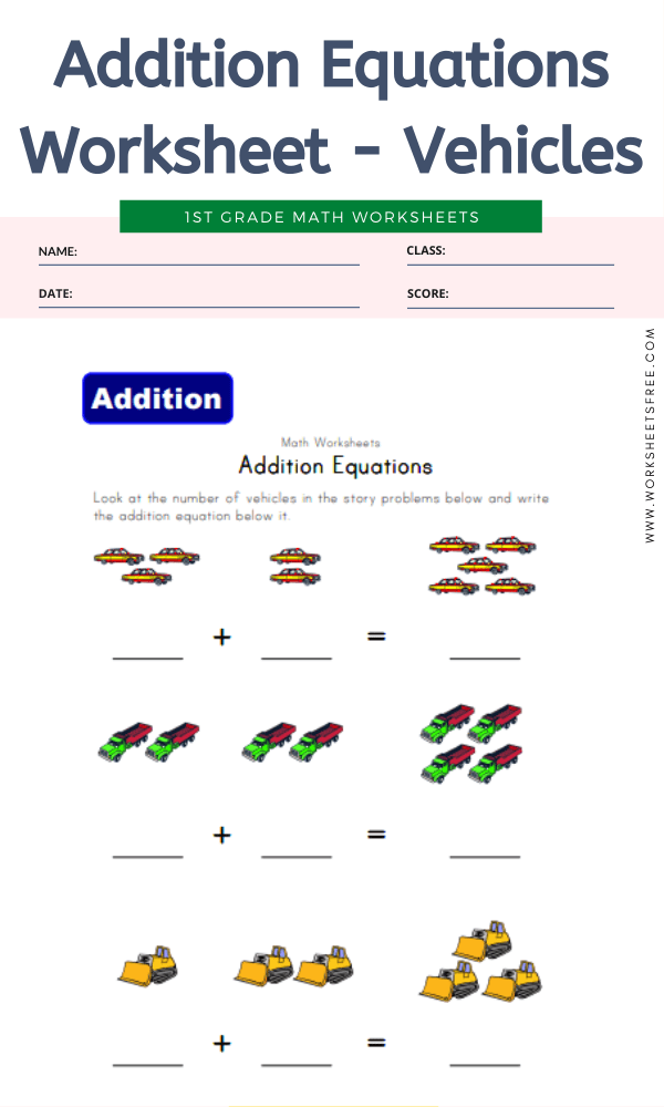 Addition Equations Worksheet - Vehicles