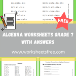 Algebra Worksheets Grade 7 With Answers