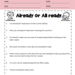 All ready or Already Worksheets 4