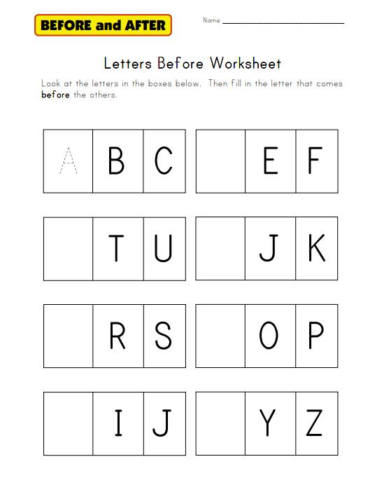Alphabet Before Worksheet