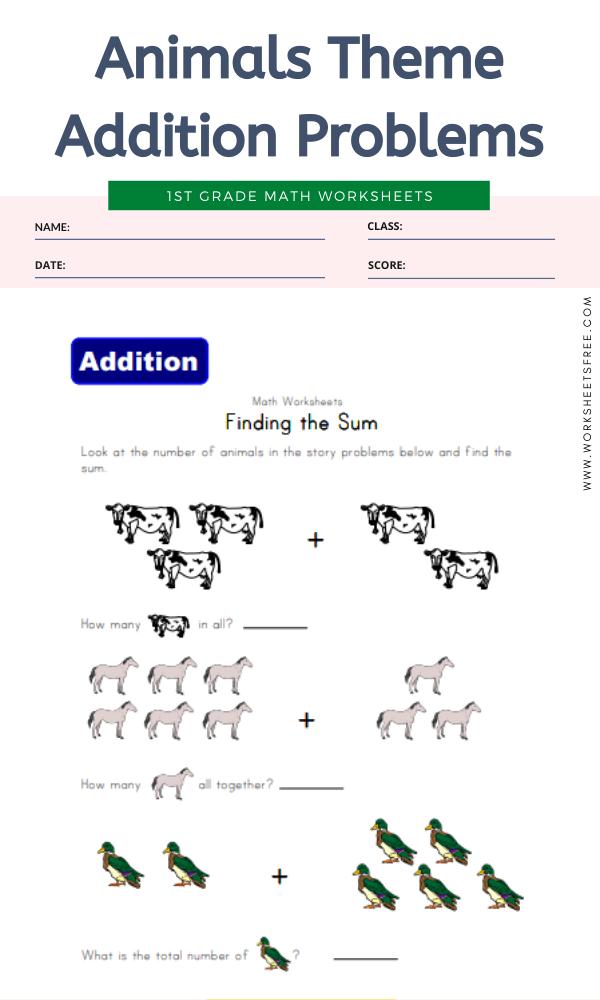 Animals Theme Addition Problems