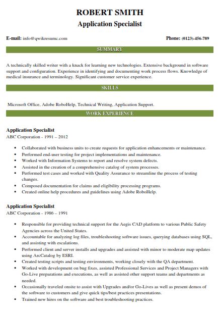Application Specialist Resume Sample 4