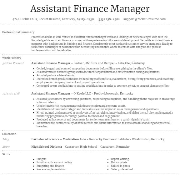 Assistant Finance Manager Resume Example 3
