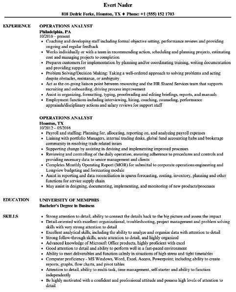 Associate Operations Analyst Resume Sample 1