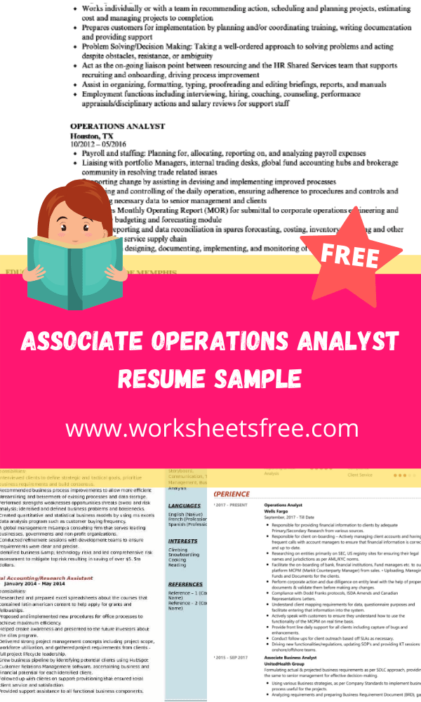 Associate Operations Analyst Resume Sample