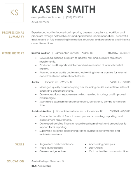Auditor Resume Example 3