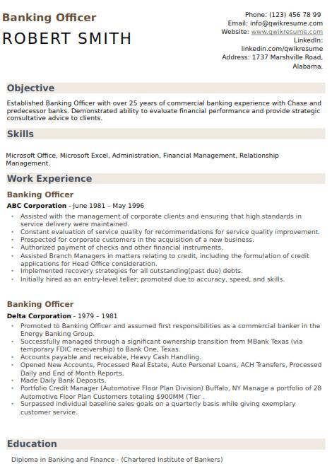 Bank Officer Resume Sample 3