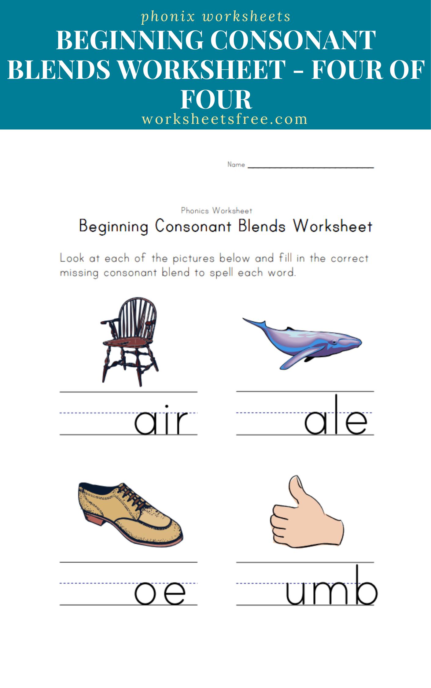 Beginning-Consonant-Blends-Worksheet-Four-of-Four   Worksheets Free [ 2250 x 1410 Pixel ]