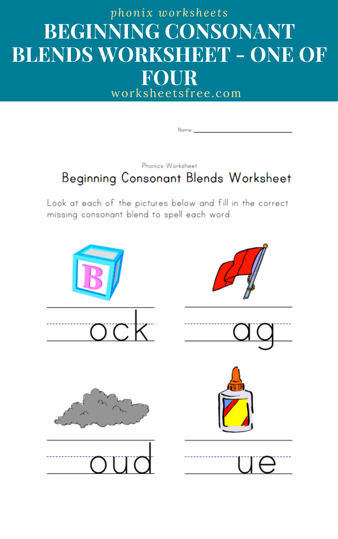 Beginning-Consonant-Blends-Worksheet-One-of-Four   Worksheets Free [ 2250 x 1410 Pixel ]