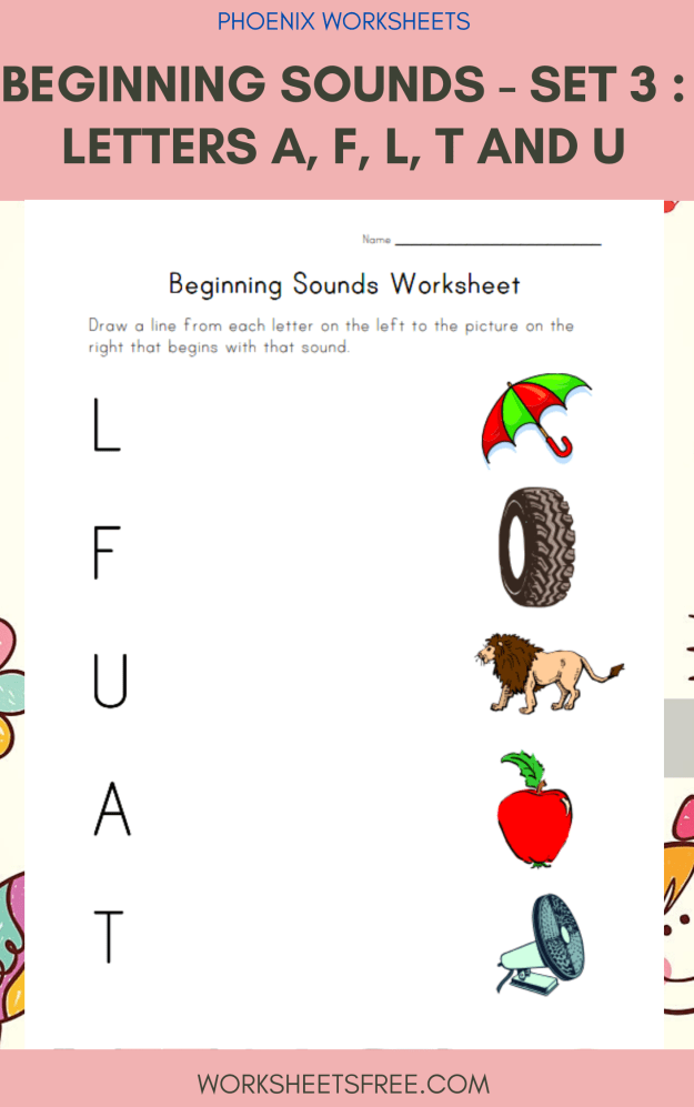 Beginning Sounds - Set 3 : Letters A, F, L, T and U
