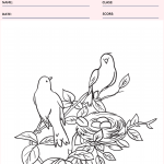 Birds in Nest Coloring Page - Animal Coloring Pages Worksheets