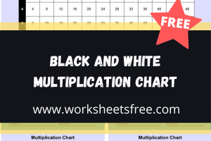 Black and White Multiplication Chart
