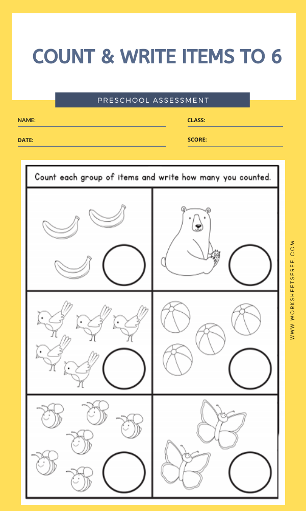 COUNT & WRITE ITEMS TO 6