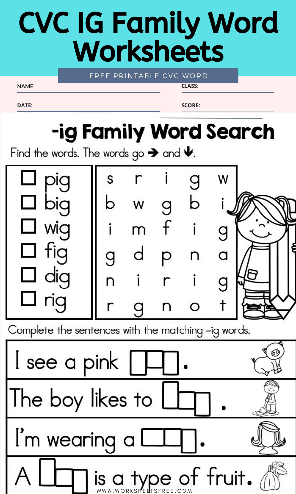 CVC IG Family Word Worksheets
