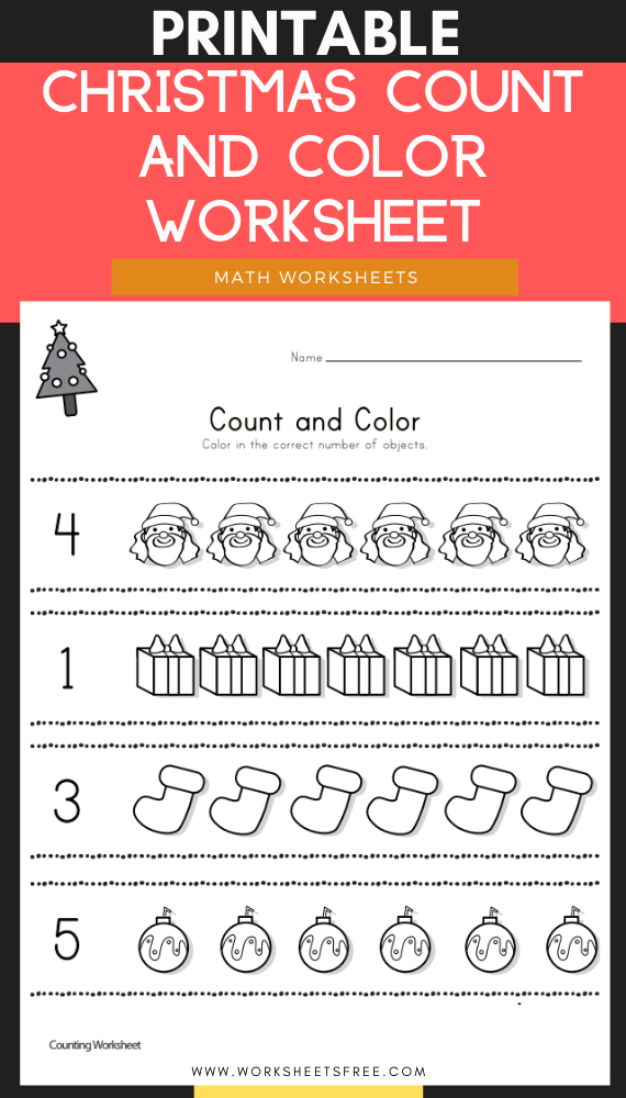 Christmas Count and Color Worksheet