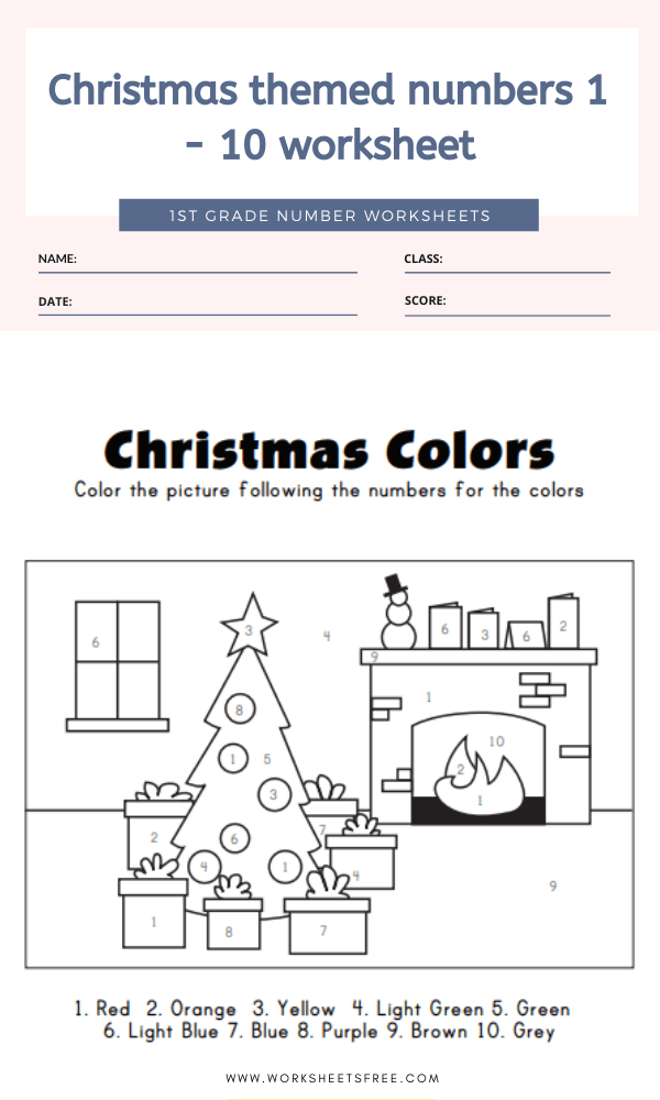 Christmas themed numbers 1 - 10 worksheet