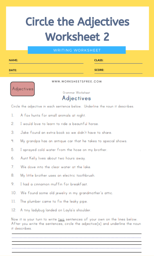 Circle the Adjectives Worksheet 2
