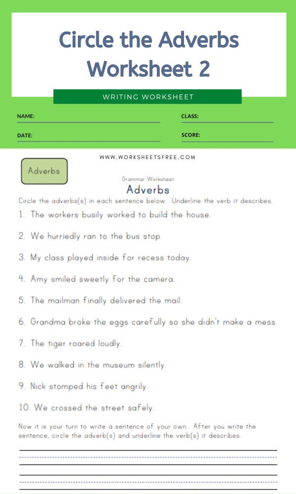 Circle the Adverbs Worksheet 2