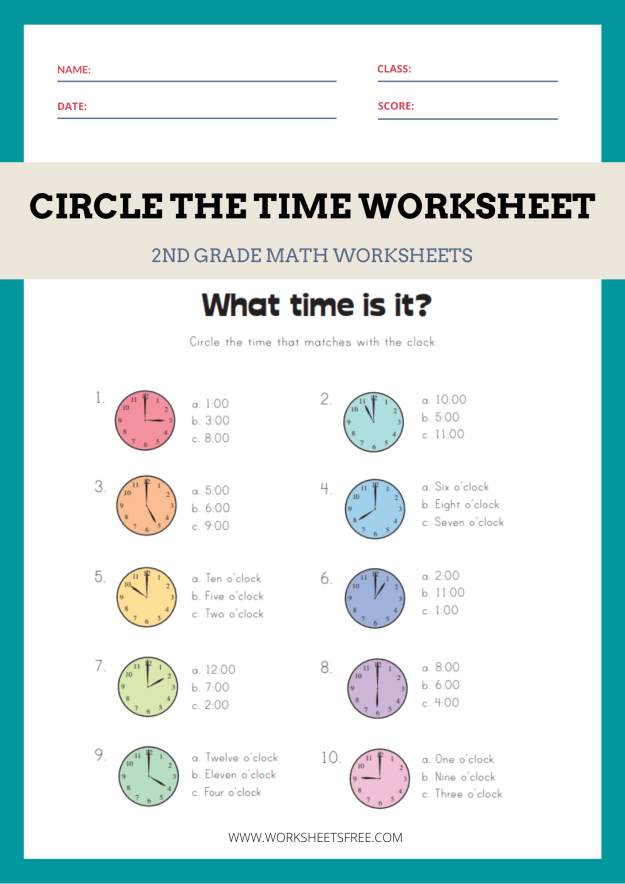 Circle the Time Worksheet