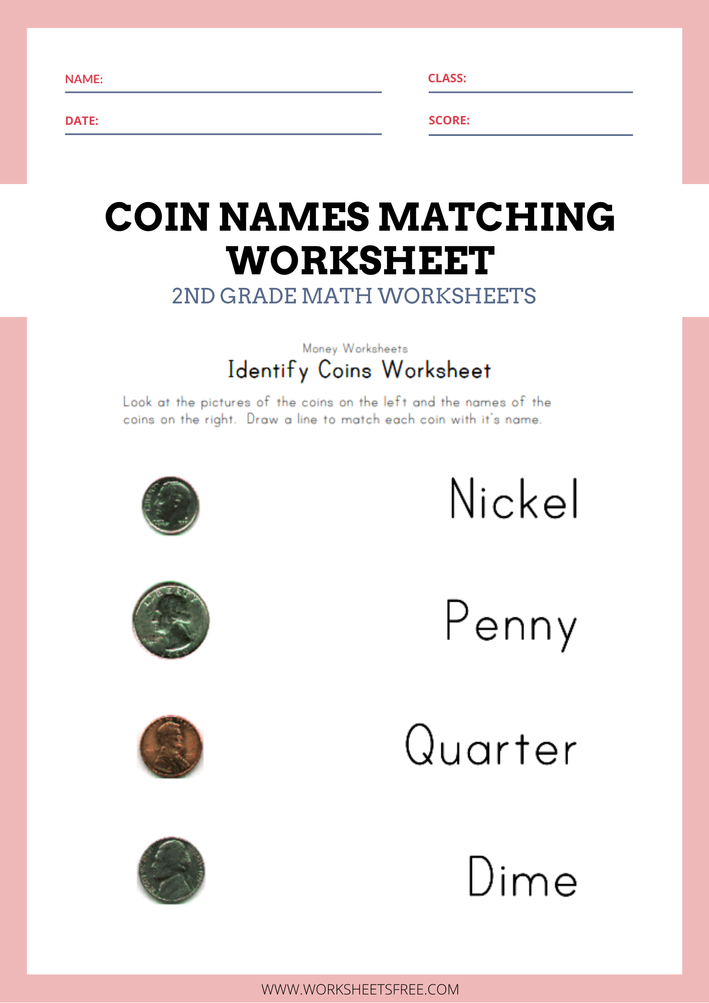 Coin Names Matching Worksheet Money Worksheets For Kids
