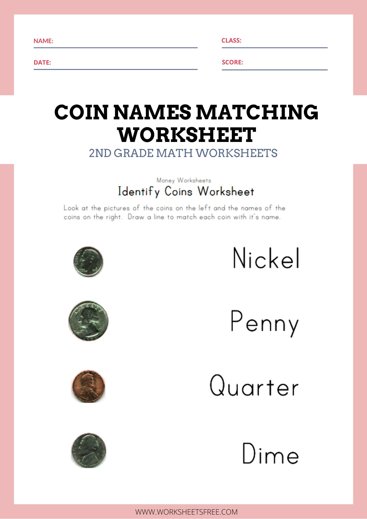 Coin Names Matching Worksheet Money Worksheets For Kids