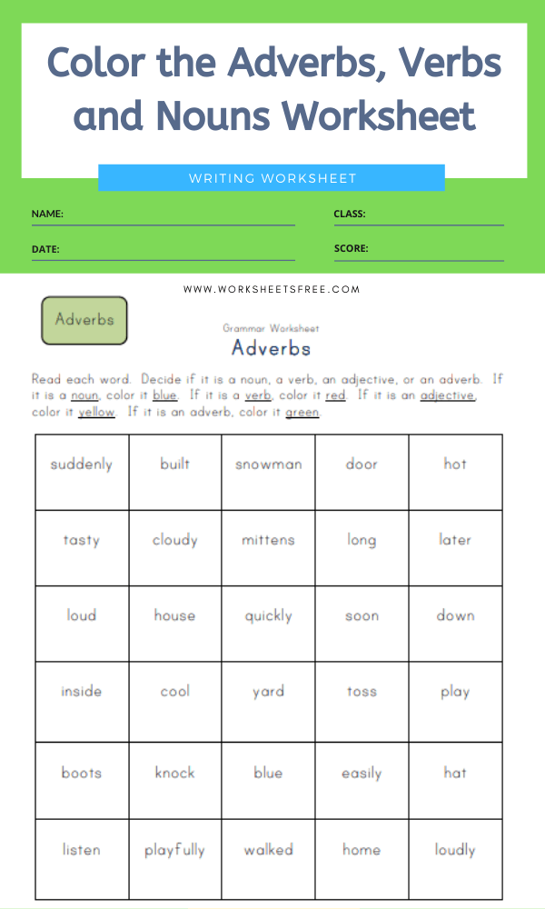 Color the Adverbs, Verbs and Nouns Worksheet