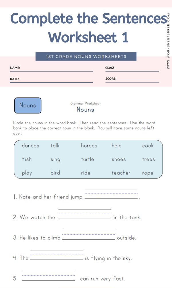 Complete the Sentences Worksheet 1