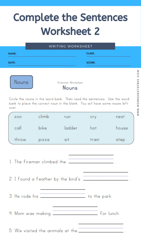 Complete the Sentences Worksheet 2