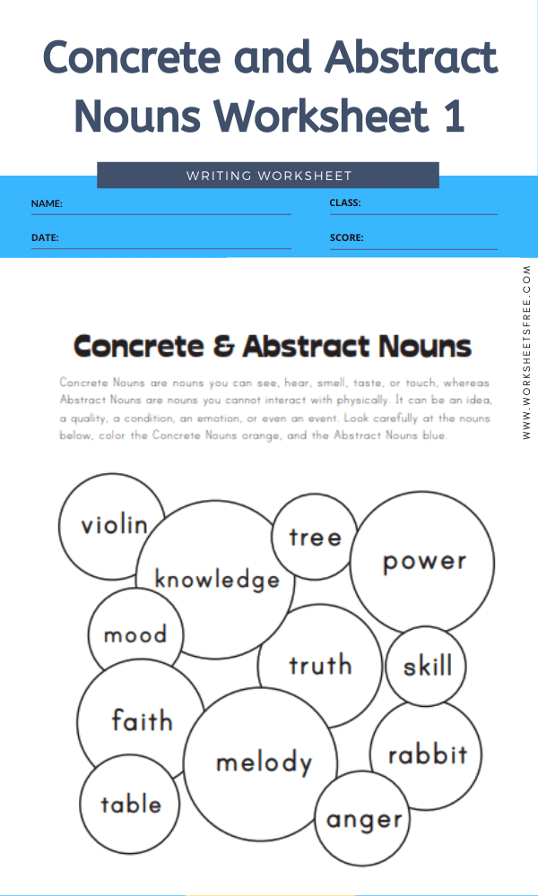 Concrete and Abstract Nouns Worksheet 1