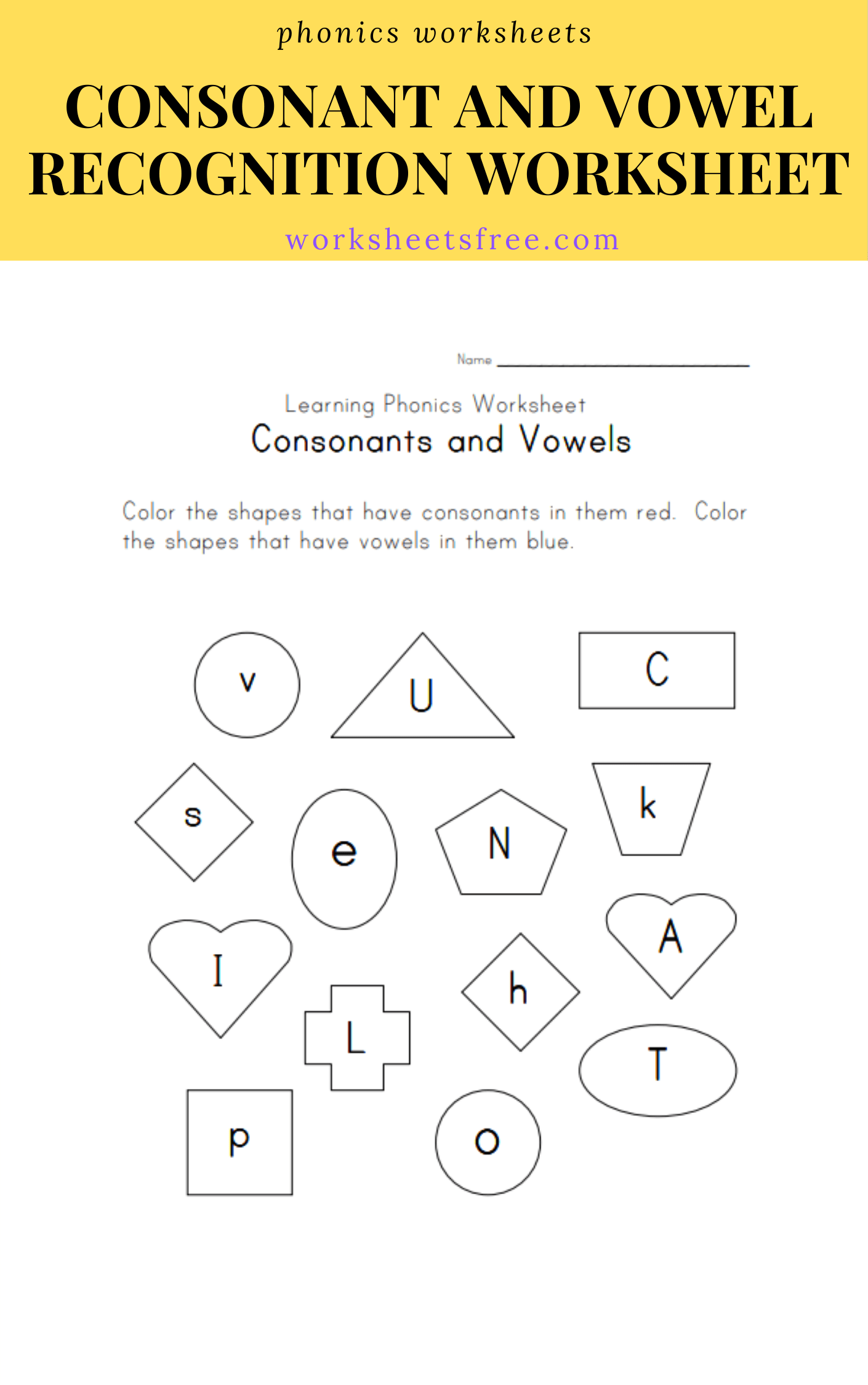 Consonant And Vowel Recognition Worksheet