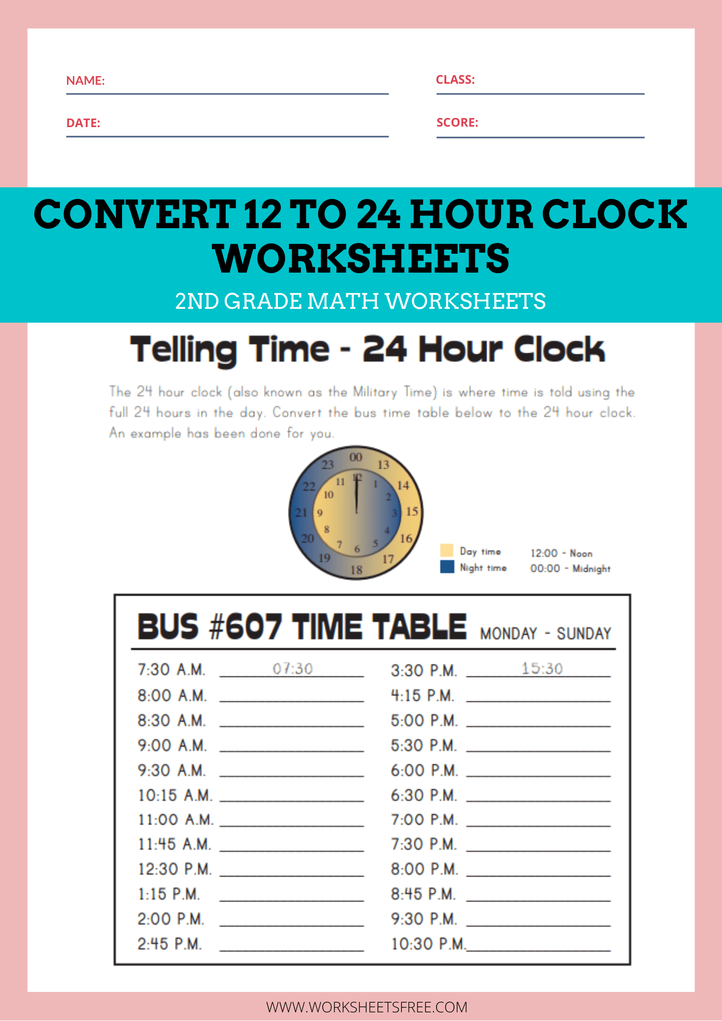 medium resolution of Convert-12-to-24-Hour-Clock-Worksheets   Worksheets Free