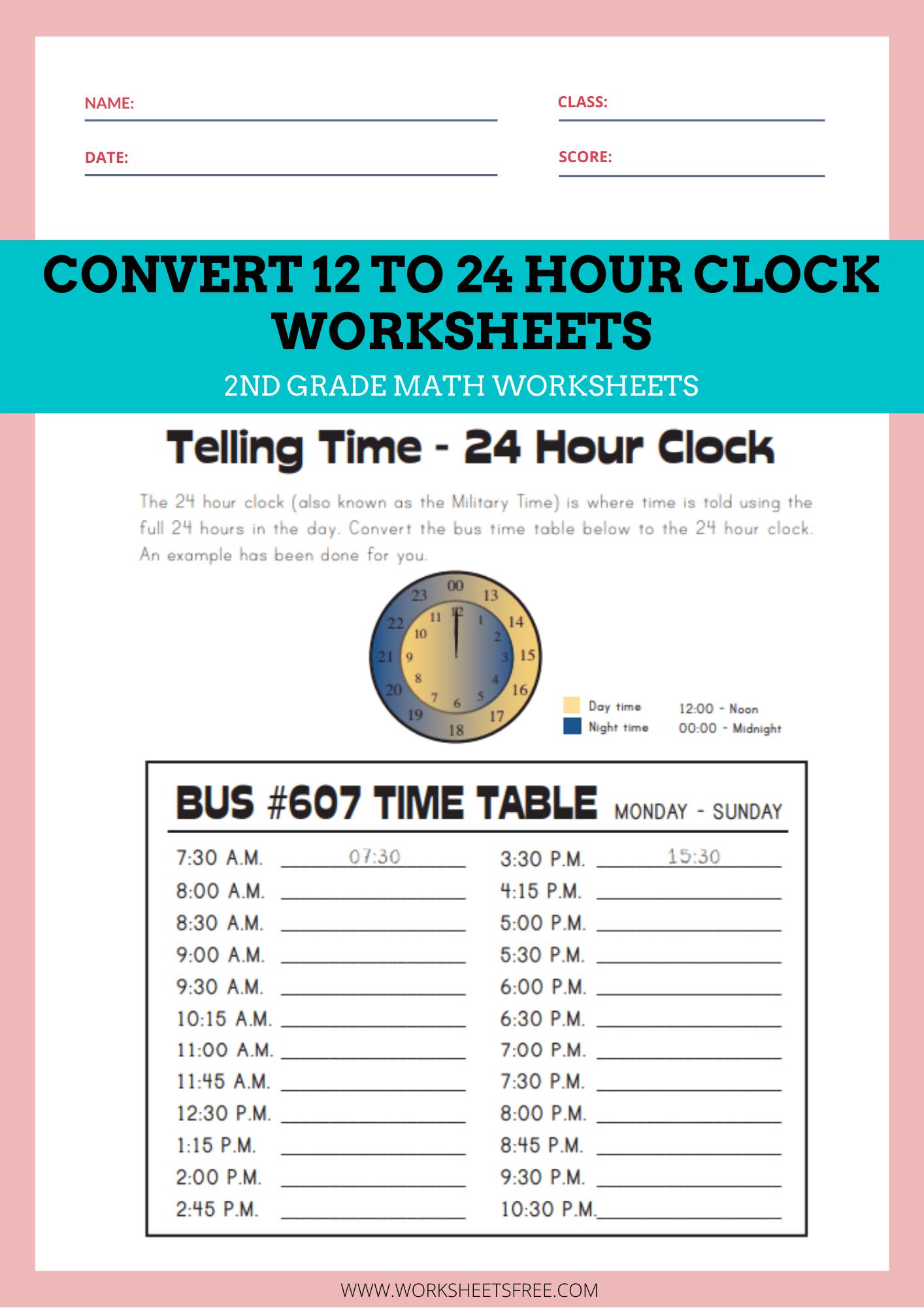 medium resolution of Convert-12-to-24-Hour-Clock-Worksheets   Worksheets Free