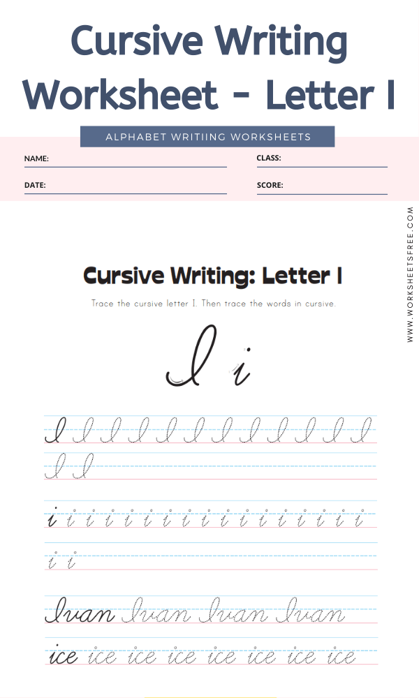 Cursive Writing Worksheet - Letter I Alphabet Worksheets
