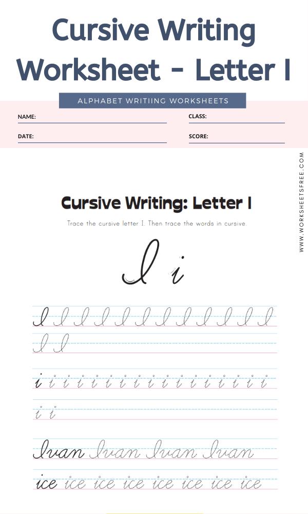 Cursive Writing Worksheet - Letter I Alphabet Worksheets